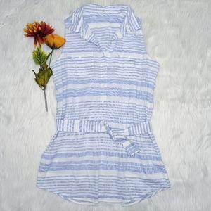 J. Crew Blue & White Striped Sleeveless Top Size S
